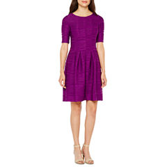 Danny & Nicole Elbow Sleeve Fit & Flare Dress