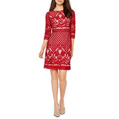 Danny & Nicole 3/4 Sleeve Lace A-Line Dress
