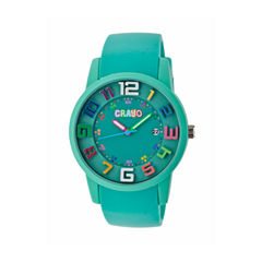 Crayo Women's Festival Teal Silicone-Band Watch with Date Cracr2003