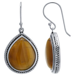 Brown Tiger's Eye Sterling Silver Drop Earrings