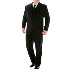 Stafford® 100% Wool Super 100 Black Stripe Suit Separates - Big & Tall