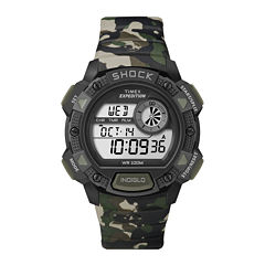 Timex® Mens Camo Silicone Strap Shock-Resistant Chronograph Sport Watch T499767R