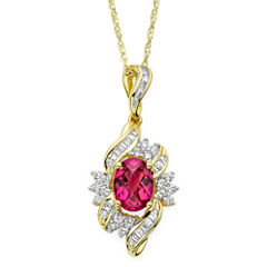 Lab-Created Ruby and White Sapphire Cluster Pendant Necklace