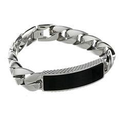 Mens Stainless Steel & Black Onyx ID Curb Bracelet