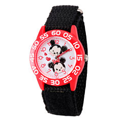 Disney Girls Mickey & Minnie Mouse Tsum Black And Red  Tsum Time Teacher Strap Watch W003001