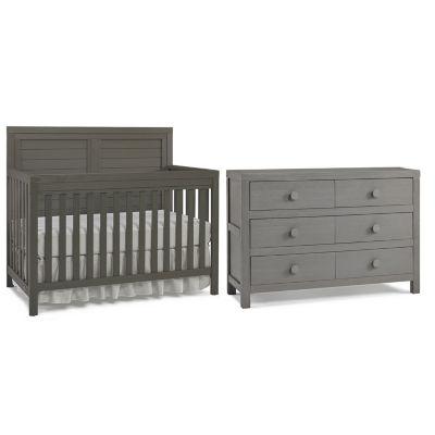 tiamo castello 2pc baby furniture set grey - Convertible Baby Cribs