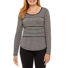 Silverwear Long Sleeve Crew Neck Stripe T-Shirt-Womens Petites