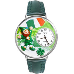 Whimsical Watches Personalized St. Patrick's Day Womens Silver-Tone Bezel Green Leather Strap Watch