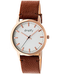 Simplify Unisex The 2800 Light Brown Leather-Band Watch SIM2803