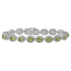 Genuine Peridot & Diamond Accent Sterling Silver Bracelet