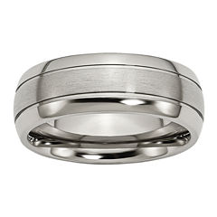 Personalized Mens 8mm Titanium Wedding Band