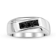 Mens 1/8 CT. T.W. Color-Enhanced Black Diamond Sterling Silver Ring