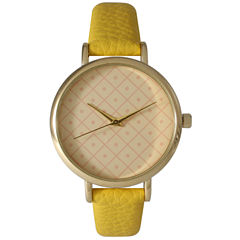 Olivia Pratt Womens Checkered Dial Yellow Petite Leather Watch 14543