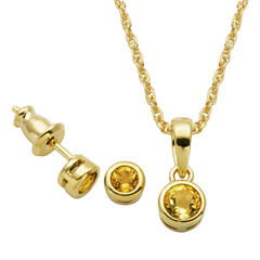 Girls 2-pc. Yellow Citrine 18K Gold Over Silver Jewelry Set