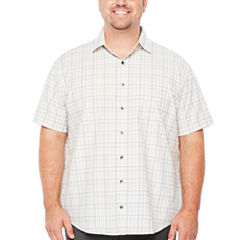 Van Heusen Short Sleeve Traveler Air Plaid Short Sleeve Plaid Button-Front Shirt-Big and Tall