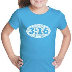 Los Angeles Pop Art John 3:16 Short Sleeve Graphic T-Shirt Girls