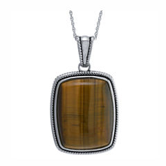 Womens Brown Tiger's Eye Sterling Silver Pendant Necklace