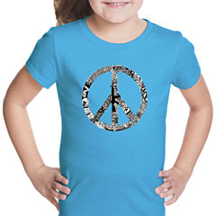 Los Angeles Pop Art Peace; Love; & Music Short Sleeve Graphic T-Shirt Girls