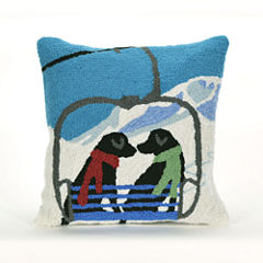 Liora Manne Frontporch Ski Lift Love Square Outdoor Pillow