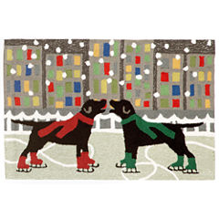 Liora Manne Frontporch Holiday Ice Dogs Hand Tufted Rectangular Rugs