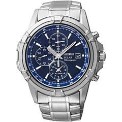 Seiko® Mens Silver-Tone Blue Dial Chronograph Watch SSC141