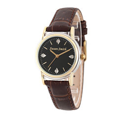 Personalized Womens Brown Leather 4 Diamond Strap Watch