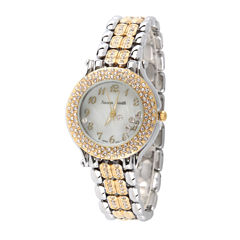Personalized Womens Two Tone Crystal Accent Bracelet Watch