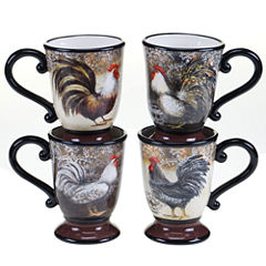 Certified International Vintage Rooster Set Of 4 Mugs