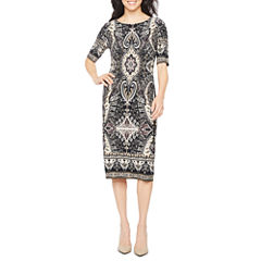 Ronni Nicole Elbow Sleeve Scroll Sheath Dress