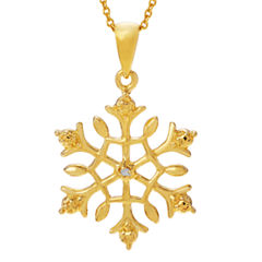 Womens Diamond Accent White Diamond 14K Gold Over Silver Pendant Necklace