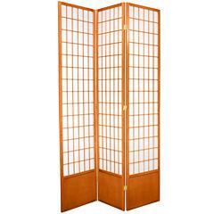 Oriental Furniture 7' Window Pane Shoji 3 Panel Room Divider