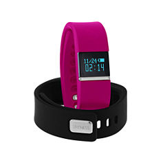 Ifitness Ifitness Activity Tracker Silver/Fuschia And Black Interchangeable Band Unisex Multicolor Strap Watch-Ift2436bk668-338