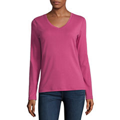 St. John's Bay Long Sleeve V Neck T-Shirt-Womens