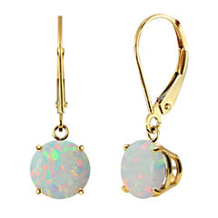 Lab-Created Round Opal 10k Yellow Gold Leverback Dangle Earrings