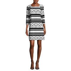 Studio 1 3/4 Sleeve Puff Print Shift Dress-Petites