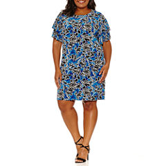 Worthington Short Sleeve Floral Sheath Dress-Plus