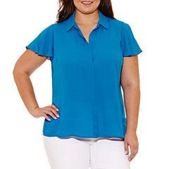Worthington Short Sleeve Button-Front Shirt-Plus