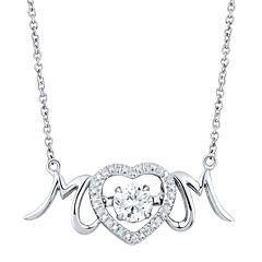DiamonArt® Cubic Zirconia Sterling Silver Mom Heart Necklace