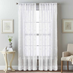 Embroidery Page Rod-Pocket Sheer Curtain Panel