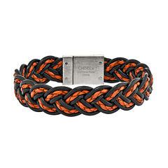 Mens Stainless Steel Black & Orange Woven Leather Bracelet