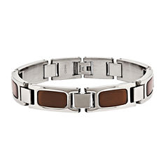 Mens Tiger'S Eye Stainless Steel Chain Bracelet