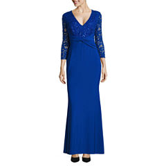 Blu Sage 3/4 Sleeve Evening Gown-Petites