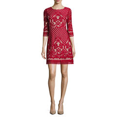 Danny & Nicole 3/4 Sleeve Lace A-Line Dress-Petites