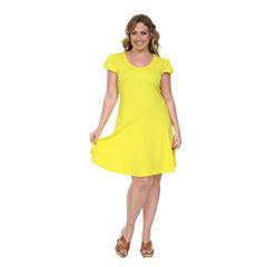 White Mark Cara Fit & Flare Dress-Plus