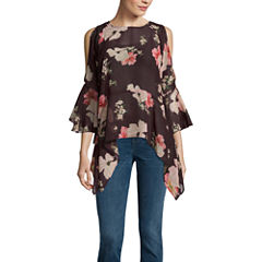 Buffalo Jeans 3.4 Sleeve Floral Ruffle Cold Shoulder Top