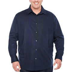 Claiborne Long Sleeve Geometric Button-Front Shirt-Big and Tall