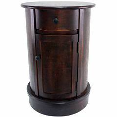 Decor Therapy Round 1-Drawer Storage End Table