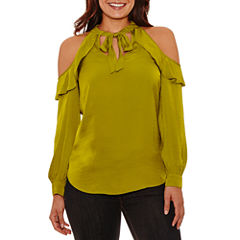 Bisou Bisou Tie Neck Ruffle Cold Shoulder Top