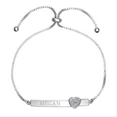 Personalized Sterling Silver Diamond-Accent Heart Name Bar Adjustable Bracelet
