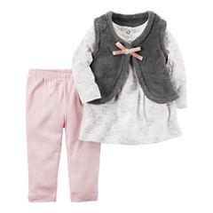Carter's Sherpa Vest 3-pc. Legging Set-Baby Girls